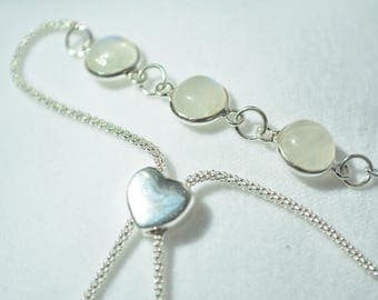 Rainbow Moonstone 925 Sterling Silver Slider Bracelet
