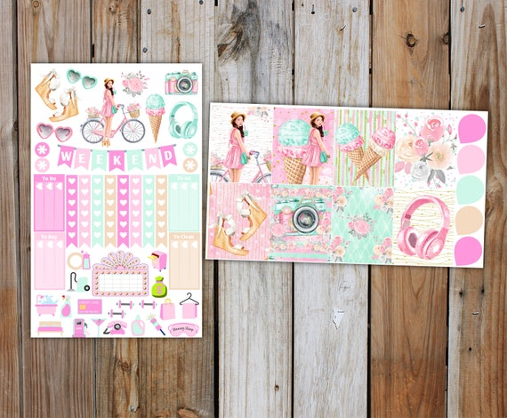 Summer in the City Planner Sticker MINI Kit | Summer Planner Stickers Kit for use with ERIN CONDREN Life Planner