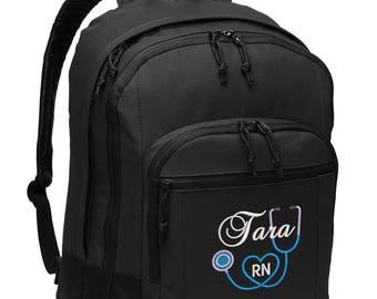 Nurse 2 Personalized Back Pack Rn, Lpn, Nurse, Cna, Cma, Embroidered