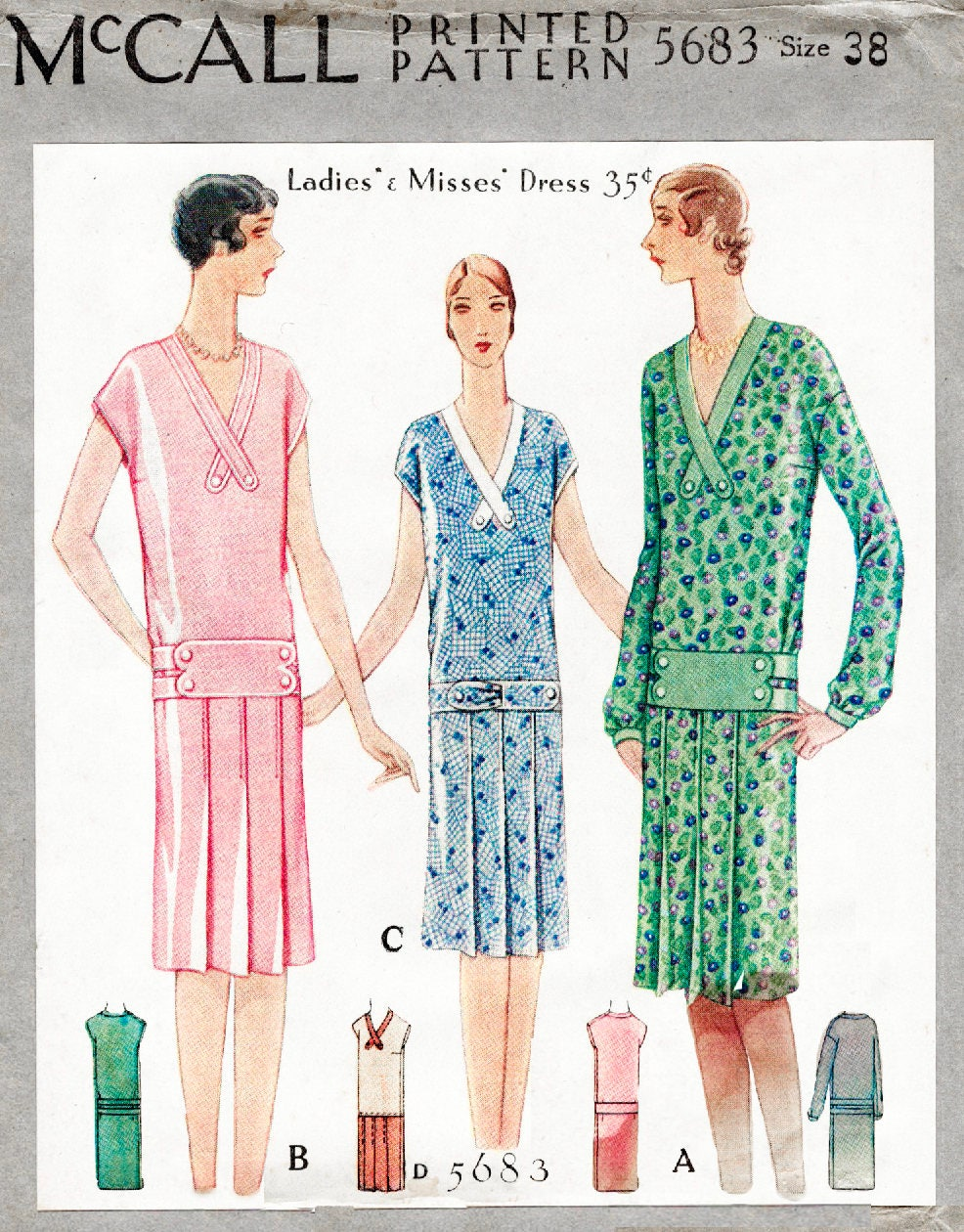 c7559fab918 1920s 20s flapper dress vintage sewing pattern reproduction    3 styles     pleat skirt    drop waist    bust 38 from LadyMarlowePatterns on Etsy Studio