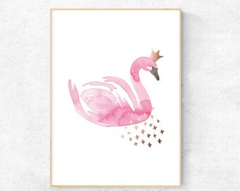 Pink Swan with Rose Gold Watercolour - Premium Print