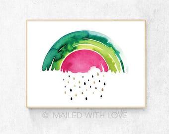 "Rainbow Watermelon ""Rainbomelon"" with Gold Seeds, Watercolour - Digital Download"