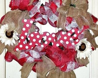 Valentine wreath for front door, burlap Valentine wreath, Valentine's day wreath, Love wreath, rustic Valentine wreath, Red Valentine wreath