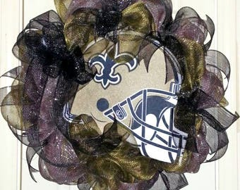 Saints wreath, Saints football wreath, New Orleans Saints door wreath