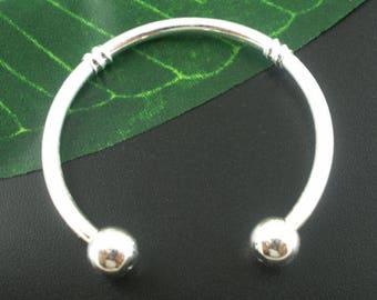 Silver Bangle Bracelet, Silver Plated Bangle , Bracelet Fit Pandora Charms , Children Size Bracelet 13cm (children size) - 4pcs