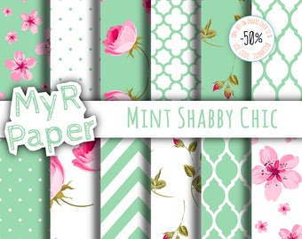 "Shabby Chic Digital Paper: ""Mint Shabby Chic"" romantic scrapbook background - Instant Download – perfect for wedding invites, cards"