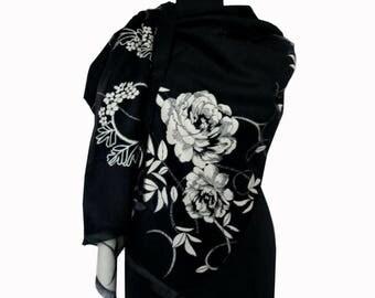 Black Scarf, Boho Shawl, Black Floral Shawl, Large Pashmina Scarf, Fashion Shawl, Mothers Day Gift, Women Scarf, Floral Scarf