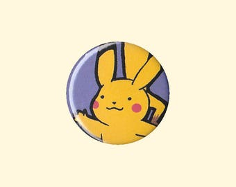 Pikachu Badge - Pikachu button, Pikachu pin, Pokemon pin, Pokemon badge, Pokemon button, cute Pikachu, kawaii Pikachu