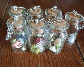 Butterfly and Roses Glass Bottle Keychains