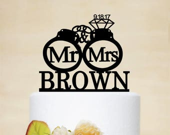 Handcuffs Wedding Cake Topper,Mr & Mrs Cake Topper With Last Name,Custom Cake Topper,Personalized Cake Topper-C232