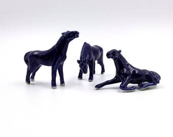 Miniature Blue Bisque Horse Figurines