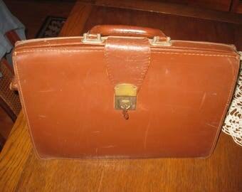 "Vintage Leather Briefcase 1940-50's  measures  17"" x 12"" x 6"" Multi compartments"