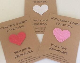 plantable paper, valentines day card, valentine cards, be my valentine, green valentine, valentine gift, school valentine, friend valentine
