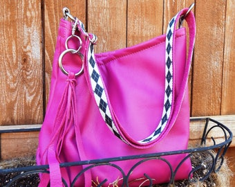 Handmade fuchsia pink cow leather hobo bag with shoulder or crossbody strap and removable key fob, gypsy, boho, bohemian, hippy