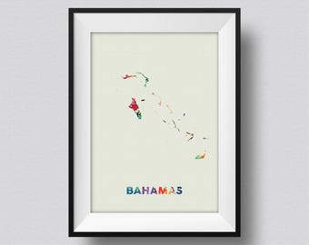 Bahamas Map Watercolor, Bahamas Water Color Map Art Print, Bahamas Ink Splash Poster Art Print, The Bahamas Caribbean Watercolor Map