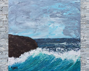 Marine painting, modern art, Wave painting