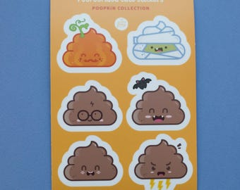 Cute Poo Stickers Sheet - collection Poopkin