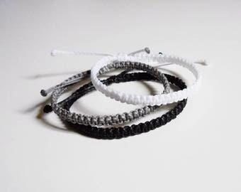 Black bracelet, thin bracelet men, simple bracelet, friendship bracelet, stackable bracelet thread, cord bracelet, waterproof bracelet white