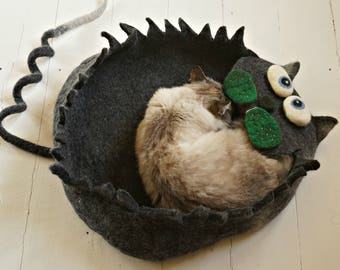 "Cat or Small Dog Mat Felt Pet Sleeping Place Wool Cat Pad ""Grey Crazy Cat"" by Indre Naujokiene"