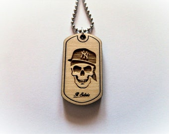 Wood SKULL DOGTAG NY HIPHOP yankee america necklace fk