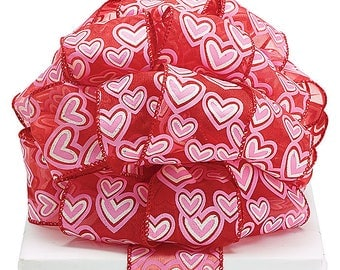 New Sheer Wired Valentine Hearts Ribbon, Red Hearts Bow, Valentine Ribbon 2-1/2""