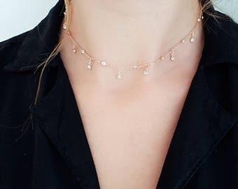 bezel dangling zircons choker, rose gold vermeil, white drop zircons, 925 sterling silver