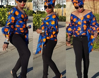 Towani Creations Ankra Wax Wrap Top With Exaggerated Ruffle Puff Sleeves Size M/10-12UK/6-8USA Ready to ship