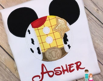 Personalized Woody Mouse Head Shirt, Character Inspired Woody Applique Shirt, Toy Story Inspired Matching Family Shirt, Woody Cowboy Shirt
