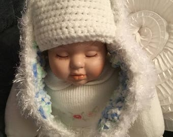 Babies new hand crocheted white woollen faux lop eared bunny hat 0-6 months photo prop