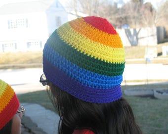 Crochet Rainbow Beanie.
