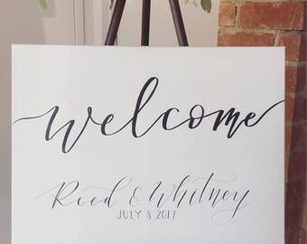 Welcome wedding sign | calligraphy wedding sign | welcome sign | wedding ceremony | sinage | welcome to our wedding | Canvas