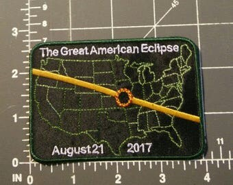 The Great American Eclipse Patch / iron on / embroidery / 2017 Eclipse