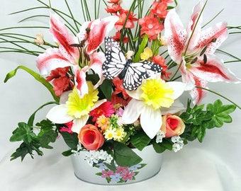 Spring Floral Centerpiece, Easter Centerpiece, Butterfly Spring Centerpiece,  Rustic Country Centerpiece