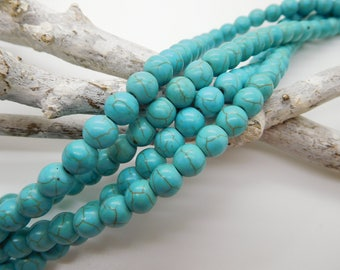 50 Natural stone beads turquoise colored 8mm marble aspect