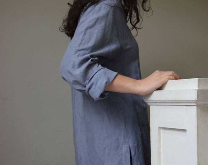 Oversized French Lavender Linen Shirt  |  Print Optional