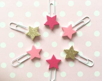 Pink star planner clips - pink & gold glitter paperclips - planner accessories - page marker - star bookmark - stationery - set of 6