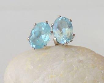 Sterling Silver  Blue Aquamarine  Earrings Small Blue  Pierced Earrings, 925 Blue Aquamarine Stud, Pierced Earrings, Aquamarine Jewelry