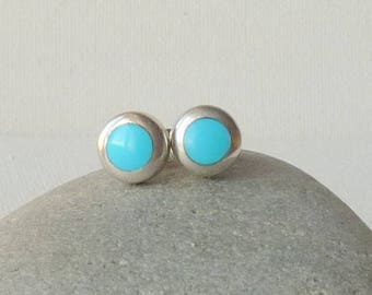 Sterling Silver Turquoise Earrings, Vintage Blue Stud Earrings, Round Blue Turquoise Jewelry, Turquoise Gems, Blue Turquoise Minimalist 925