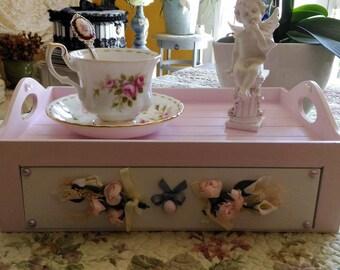 Pink ballerina and waxed patina white tea box White Dove