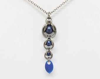 Steel Blue Captured Titanium Ball Chainmaille Stainless Steel Pendant with Tiny Titanium Blue Scale