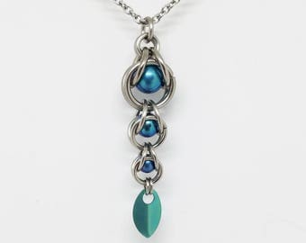 Teal Blue Captured Titanium Ball Chainmaille Stainless Steel Pendant with Tiny Titanium Teal Scale