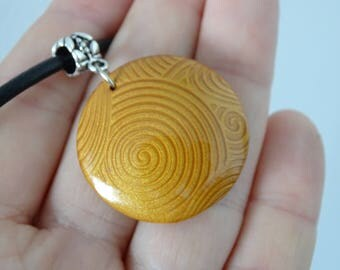 Spiral pattern gold fimo polymer clay pendant necklace