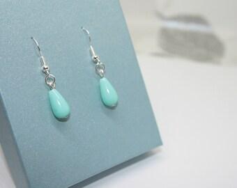 Summer Jewellery, Green Teardrop Earrings, Dangle Earrings, Sterling Silver, Jewellery, Womens Gift