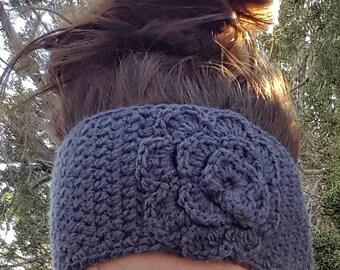 Flowered Ear Warmer, Crocheted Ear Warmer, Crocheted Winter Headband, Crochet Ear Warmer, Winter Accessory, Crochet Ear Warmer with Flower