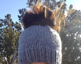 Messy Bun Beanie- Solid, Pony Tail Beanie, Messy Bun Hat, Pony Tail Hat, Messy Bun Toque, Chunky Ear Warmer, Knit Hat, Chunky Knit Hat