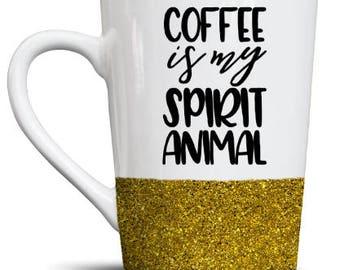 Coffee Is My Spirit Animal Glitter Ceramic Coffee Mug! 14 oz!