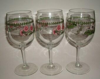 3 Portmeirion BOTANIC GARDEN Wine Goblets