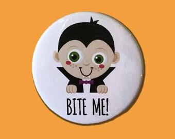 Bite Me Halloween Badge, Rude Badge, Halloween, Vampire