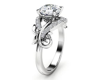 Moissanite Leaf Engagement Ring 14K White Gold Moissanite Ring Solid Gold Engagement Ring