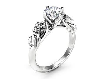 Rose and Leaf Moissanite Engagement Ring 14K White Gold Solitaire Ring Rose and Leaf Engagement Ring